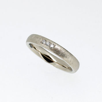 Scartched white gold wedding band with diamonds, modern wedding ring, simple engagement ring, unique, anniversary, contemporary, yellow gold