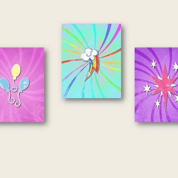 set of three.. my little pony friendship is magic.. printable instant downloads.. pinkie pie, rainbow dash, twilight sparkle