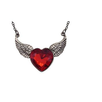 Gold Plated Angel Wings Love Heart Pendant Necklace
