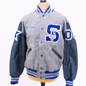 Vintage 1980s VARSITY STAR Blue Grey Baseball Jacket Heavy Wool / Leather M