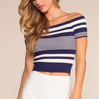 Lock It Down Stripe Crop Top - Navy