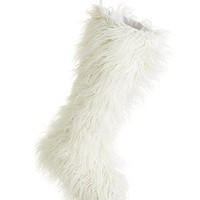 "White Faux Fur Christmas Stocking Decoration - 24"" Tall"