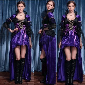 Halloween Fairy Tale Queen Cosplay Costume For Women Adult Girls Purple Queen Dress Female Party Dress Vestidos