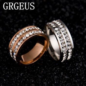 ac spbest Womens Mens Fashion Double Rows Rhinestones Titanium Steel Wedding Engagement Charm Rings