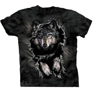 Fierce Wolf Big Face Jumping Animal Print Graphic Tee T-Shirt for Women