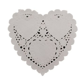100 x Heart Off White Greaseproof Paper Doilies. 9cm x 10cm. Perfect for Valentine's Day and Parties. The Ideal Table Decoration Placemat
