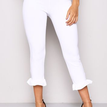 WHITE HIGH WAISTED FRILL BOTTOM CROPPED TROUSERS