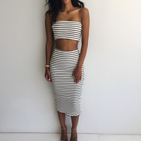 2016 New Fashion summer style Sexy Party Dresses 2 piece set women summer dress Stripe Strapless maxi dress vestidos femininos