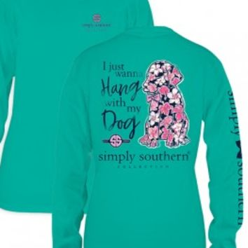 "Simply Southern YOUTH ""Hang With My Dog"" Tee - Seafoam Green"