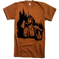 Mens Lumberjack Woodland T Shirt - american apparel Tshirt - XS S M L XL and XXL (28 Color Options)