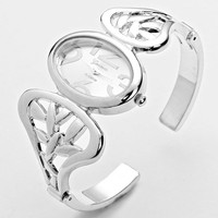 Silver Double Wing Elegant Cuff Watch