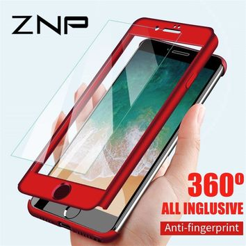 ZNP 360 Degree Full Cover Phone Cases For iPhone 6 6s 7 8 Plus 5 5S SE X Shockproof Cover For iPhone 8 Plus 6 6s Case With Glass