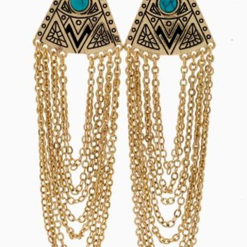 Gold Layered Chain Tribal Drop Earring