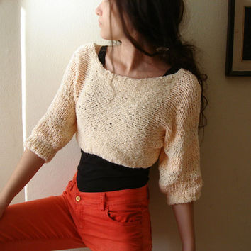 Apricot Knit women crop sweater , off shoulder top ,