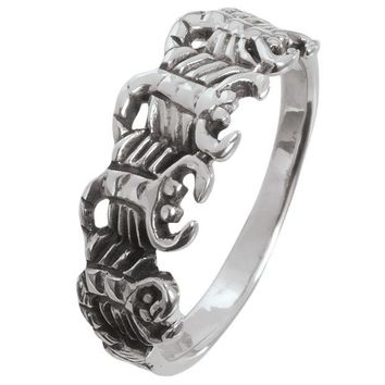 DCCKU3R Scorpion Circle Sterling Silver Ring