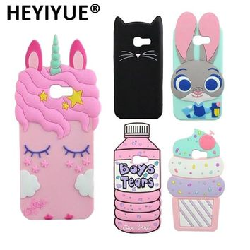 Silicone Case For Galaxy A7 2017 Boys Tears Minions Minnie Mouse Pocket Cat Judy Unicorn Cases Cover For Samsung A7 2017 A720