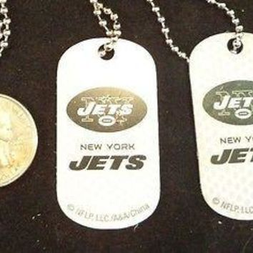 2 NFL New York Jets White Logo Dog Tags Key chains backpacks party Gift