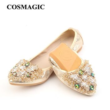 COSMAGIC New Women Flat 2018 Butterfly Crystal Ballet Flats Folding Shoes Casual Rhinestone Soft Dancing Egg Rolls Shoes Loafers