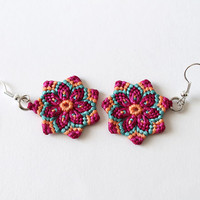 Macrame mandala flower earrings boho hippie pink magenta