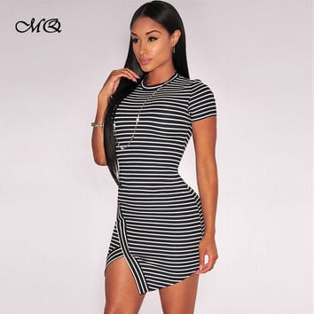 Women T Shirt Dress  New Fashion Women Casual Dresses Short Sleeve Stripe O-Neck Cross Jag Mini Sport Dress Split Club Dress