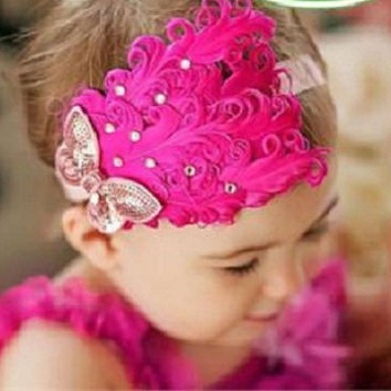 Baby Girl Infant or Little Girl Feather Rhinestone Sequin Bow Headband Hot Pink Party Dress Up Holiday Fancy