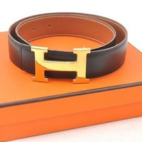 Gotopfashion Authentic HERMES Ladies Leather Black Belt Size 70 Box 57556