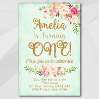 1st Birthday Invitation, Turquoise Gold Invitation, Any age 13 18th 21st 30th 40th 50th, etsy Birthday Party invitation XA302t