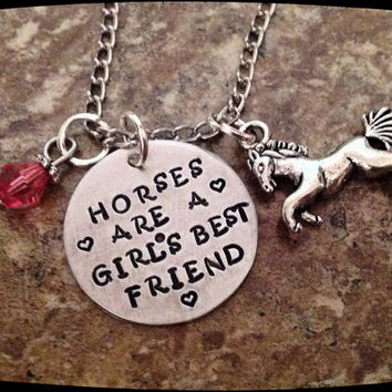 Personalized Horse Jewelry, Horses are a girl's best friend, Horse Necklace, HandStamped Jewelry,  Aluminum Stamped Disc