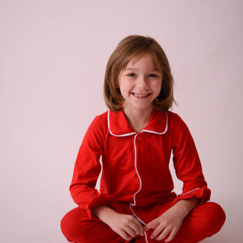Kids Christmas PJs in Red Monogrammed Sizes 3 Months to 12 Years