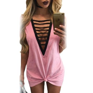Pink Strappy Hollow-out V Neck Tie Me Over Dress