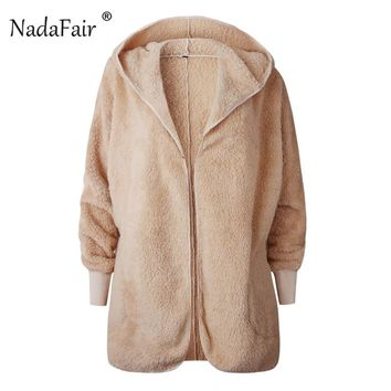 Nadafair Shaggy Hooded Teddy Coat Long Sleeve Lambswool Faux Fur Coat Women Winter Cardigan Plush Fur Fluffy Jacket Femme