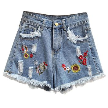 Embroidered Jeans Short Pants Fashion Retro Wide Leg High Waist White Blue Denim Shorts