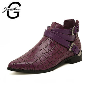 GENSHUO 2016 New Autumn Shoes Women Boots Motorcycle Botas Femenina Chaussures Zapatos Mujer Ankle Boots For Woman Combat Boots