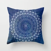 Mandala Throw Pillow, blue and white, sapphire home decor, cushions