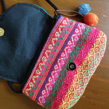 Aztec Zipped Bags Coin Purse Cell Phone Wallet Boho Bohemian Cross Body Chic Ikat Abstract Tribal Pouch Wallet Clutch Unique Handmade blue
