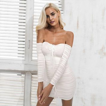 Off Shoulder Ruched Bandage Tie Up Skinny Club Short Dress