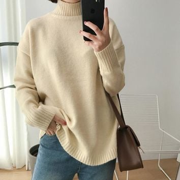 Solid color  turtleneck sweaters pullovers