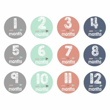 12Pcs/Set Novelty Baby Monthly Photograph Stickers 1-12 Month Milestone Stickers DIY Scrapbook Photo Album Cartoon Photo Prop H1