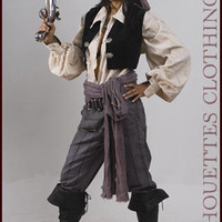 Authentic Women's Pirate Costume Anne Bonnie Pirate with Pants Size 6-8