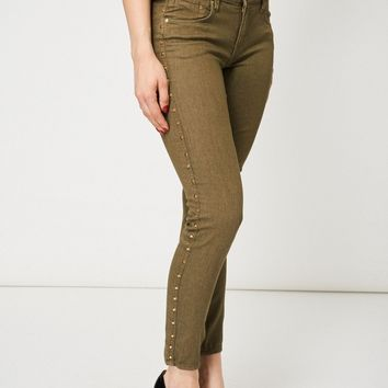Khaki Studded Skinny Jeans Ex-Branded Available In Plus Sizes