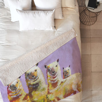 Clara Nilles Lemon Llamas On Lavender Fleece Throw Blanket