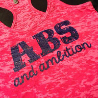 Workout Tank..aBs aNd aMbiTiOn...Burnout Racerback Tank Top...SIZE LARGE
