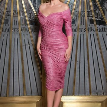 Monica Dress in Pink Lurex