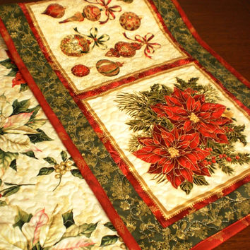 Christmas quilted tablerunner. Traditional green red and cream, holly, poinsettias. Xmas handmade patchwork table topper, mistletoe & stars