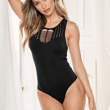 Black Seamless Crochet Bodysuit from VENUS