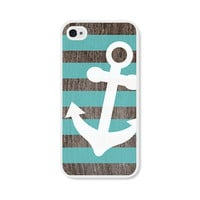 Anchor Apple iPhone 4 Case - Plastic iPhone 4s Case - Striped Wood Nautical iPhone Case Skin - Turquoise Blue Brown White Cell Phone