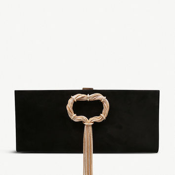 ROGER VIVIER Club Chain suede clutch