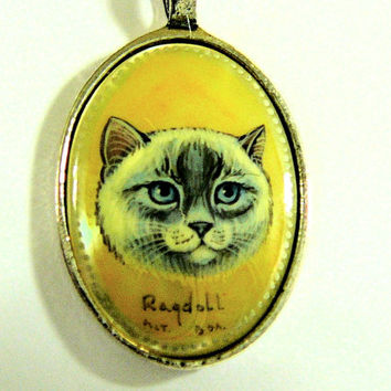 Hand Painted Cameo Ragdoll Cat Pendant Mother Of Pearl Shell Art Jewelry Cat Lover Gift