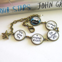 The Fault In Our Stars Quote Antique Brass Bracelet