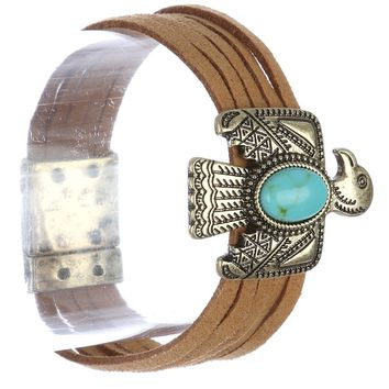 Turquoise Metal Thunderbird Faux Suede Bracelet